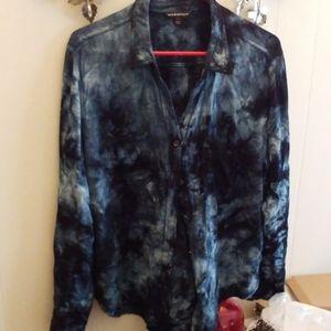 Dark blue tye dye stretch button down shirt